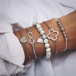 Marble Elephant Love Infinity 5-piece Bracelet Set